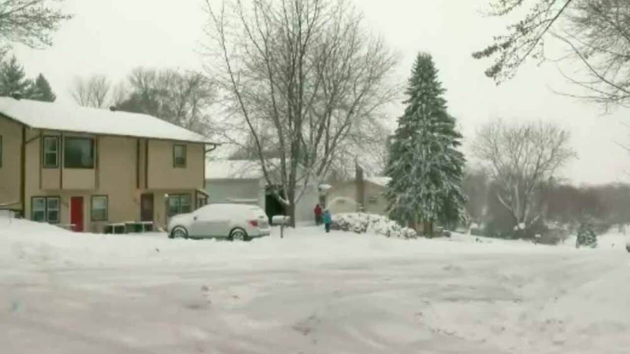 Snow in Glenwood, Minnesota, on Dec. 27, 2018. (Courtesy WCCO via CNN Newsource)