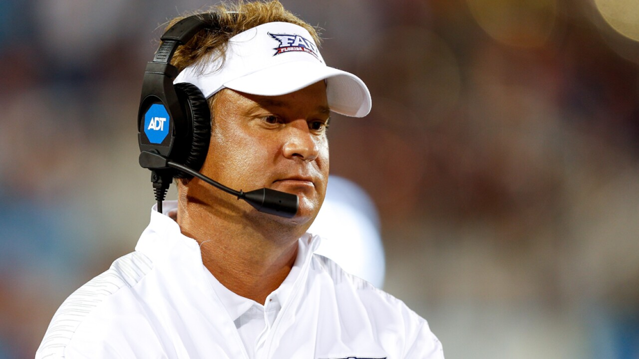 Head coach Lane Kiffin of the Florida Atlantic Owls looks on against the Bethune Cookman Wildcats during the second half at FAU Stadium on September 15, 2018 in Boca Raton, Florida.