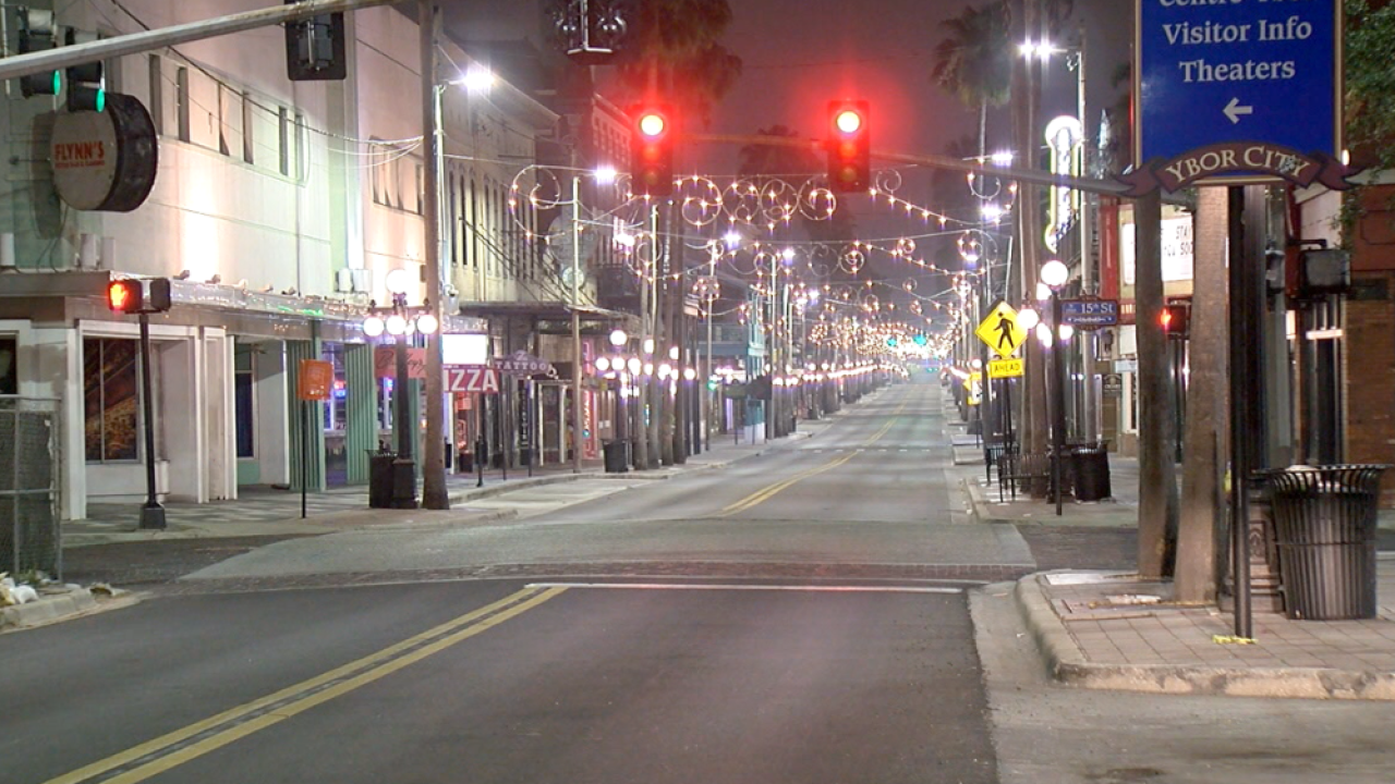 empty 7th Avenue Ybor City curfew