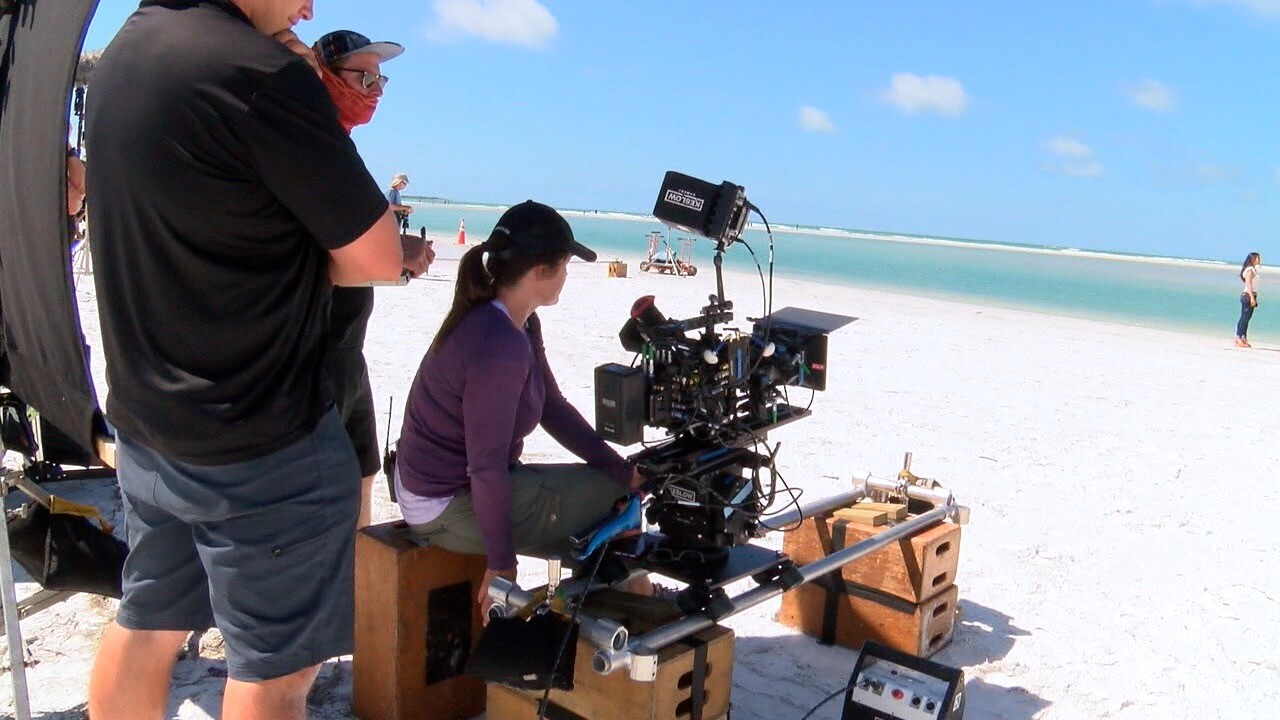 film production on Florida beach
