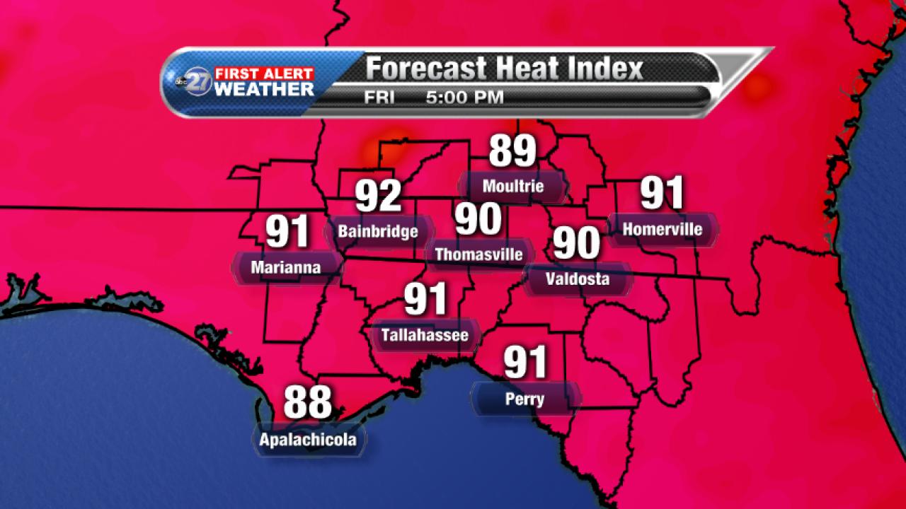Forecast 5pm Heat Index (09/22/2017)