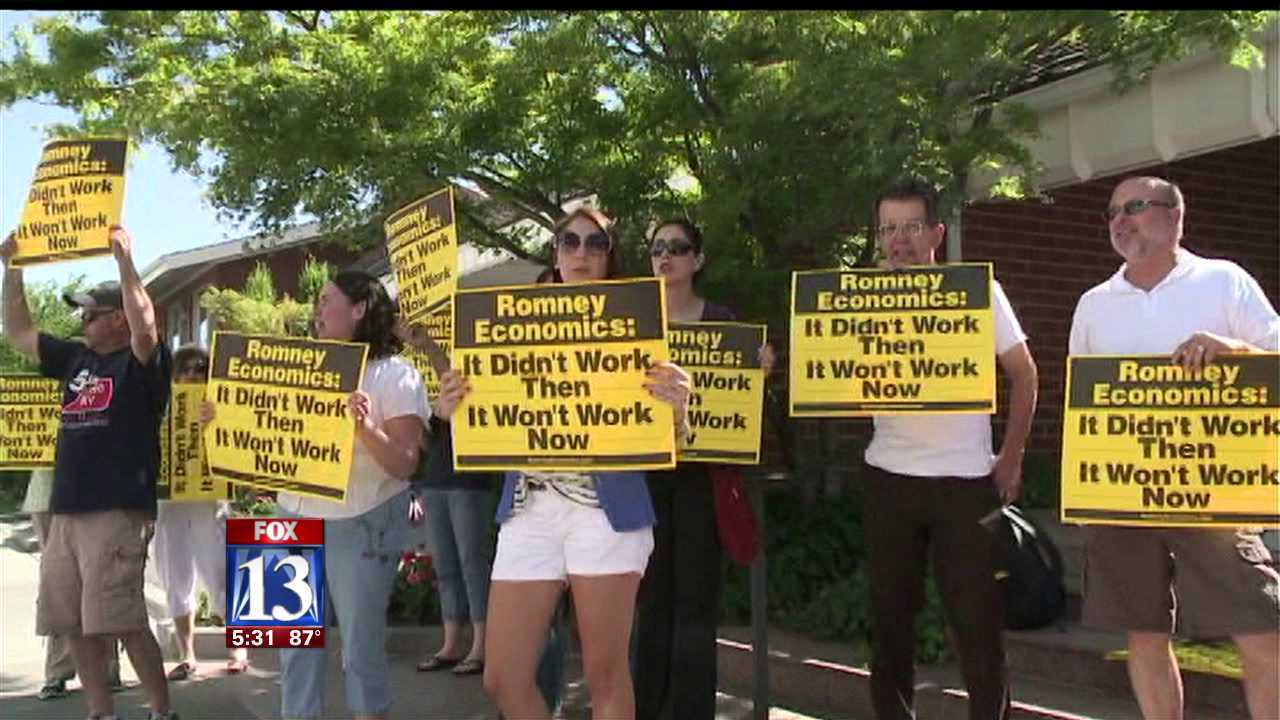 Utah Dems demonstrate against Romney's record