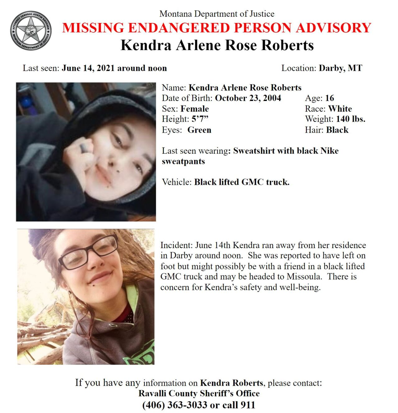 Missing/Endangered Person Advisory 16-year-old Kendra Arlene Rose Roberts of Darby
