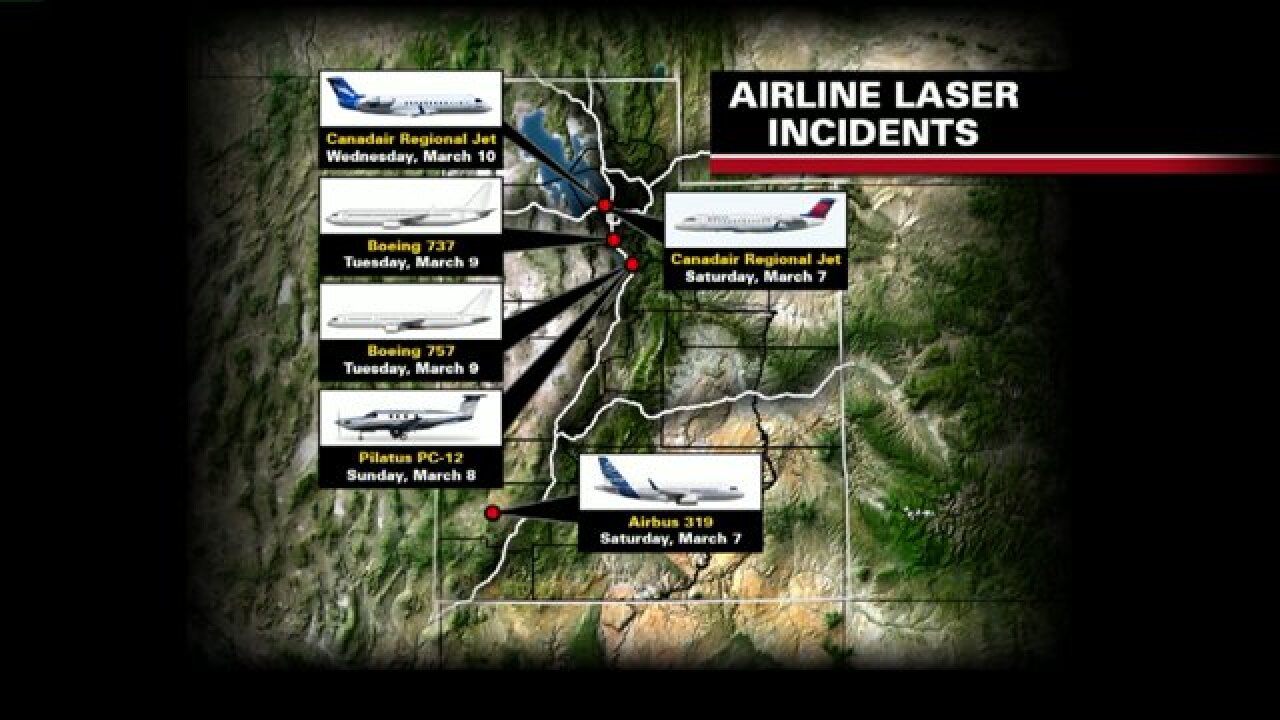 Six laser incidents reported in cockpits above Utah in fivedays