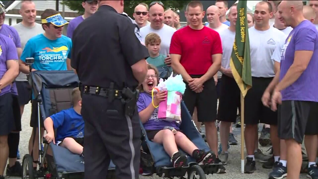 Special Olympics Virginia torch run complete with birthday surprise