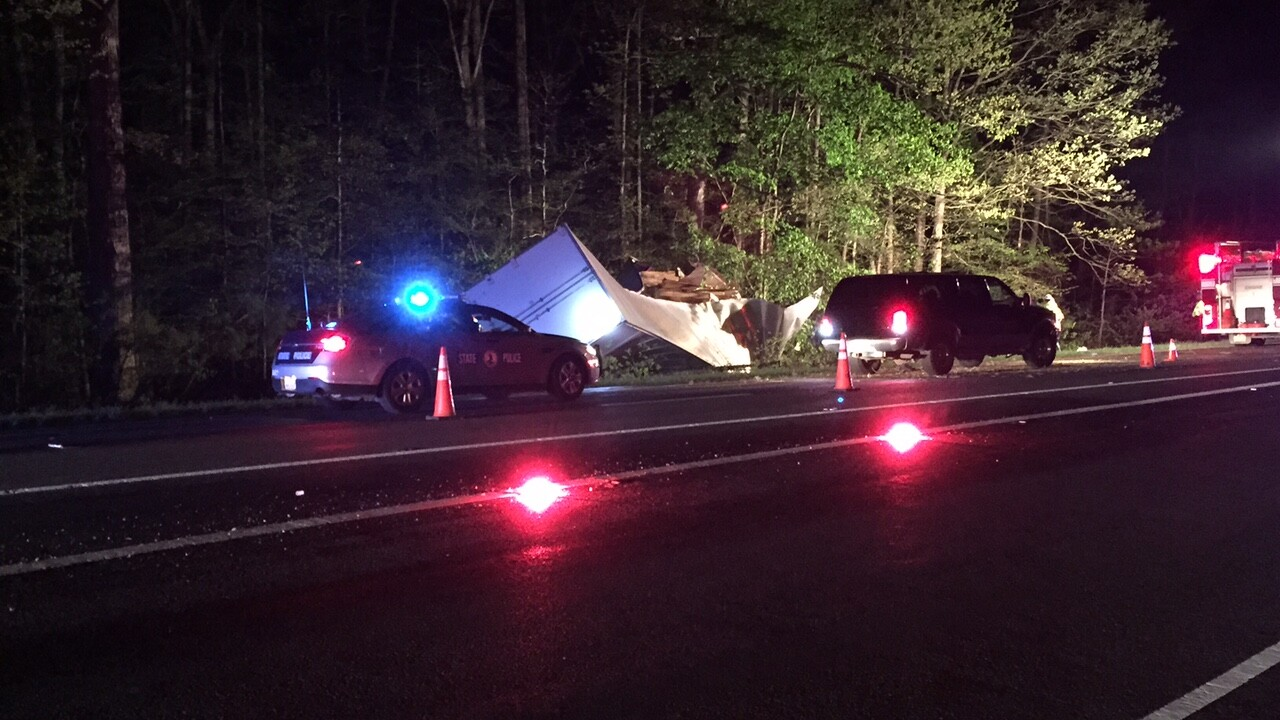 Overturned tractor-trailer involved in fatal accident on I-64