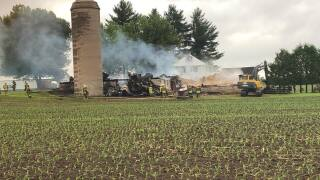 Vacant barn engulfed in fire in Bear
