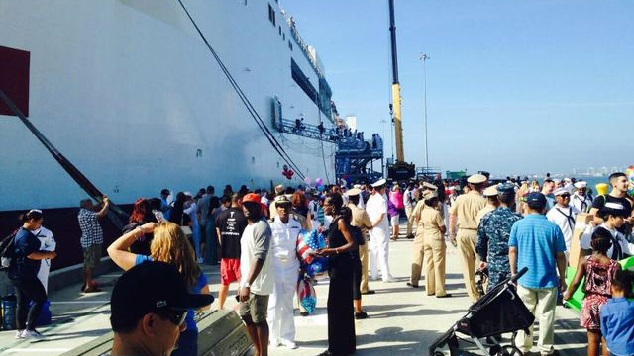 Loved ones welcome sailors of USNS Mercy home
