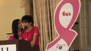 Valerie Cavazos and Meredith Dunkel, co-emcees of the 2019 Making Strides Against Breast Cancer Kickoff Breakfast