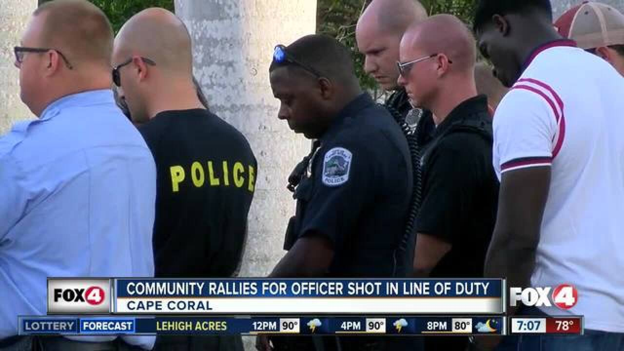 Community rallies behind officer shot on duty