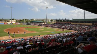 2018 spring training game at Roger Dean Chevrolet Stadium between St. Louis Cardinals and Minnesota Twins
