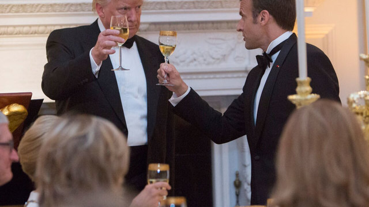 President Trump, French President Macron hold lavish state dinner