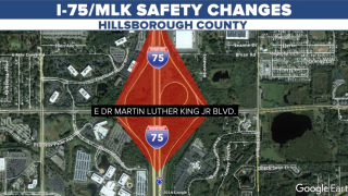 MAP OF MLK I75 SAFETY IMPROVEMENTS WITH DIVERGING DIAMOND