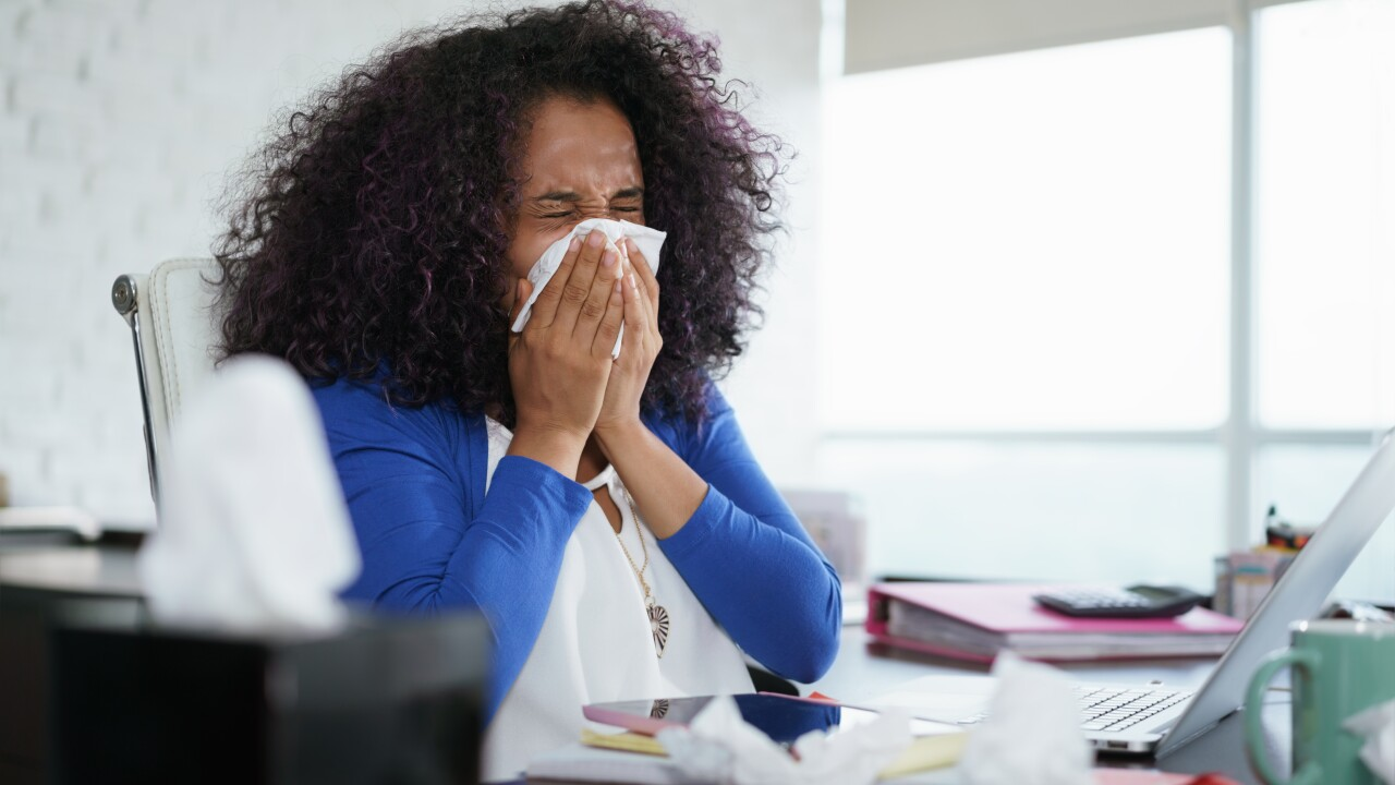 Black Woman Working from Home And Sneezing For Cold, flu, sick, computer work