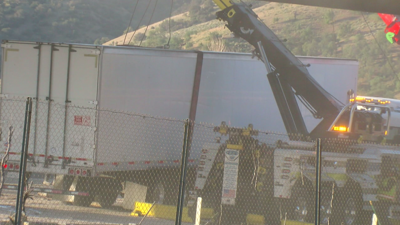 A semi-truck hauling milk overturned on Southbound Interstate 5 at the Lebec curve Thursday morning.