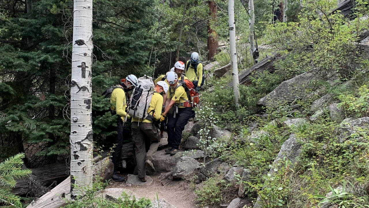 Bridal Veil Falls SAR Litter Carry August 9 2020_Courtesy Rocky Mountain National Park