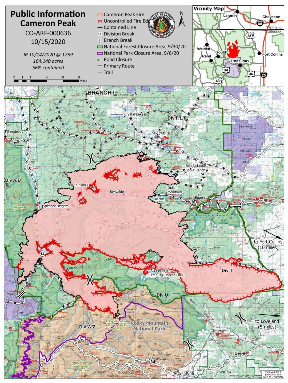 Cameron Peak Fire map morning_Oct 15 2020