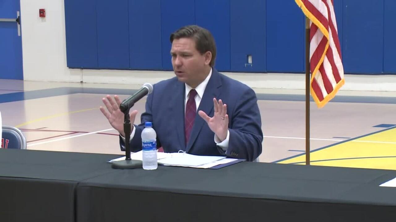 Gov. Ron DeSantis provides coronavirus update from Jacksonville basketball court, May 22, 2020
