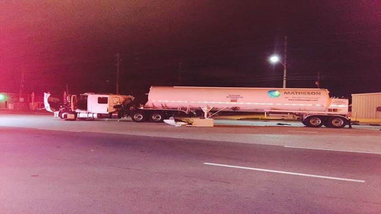 Nitrogen tanker crashes into garbage truck