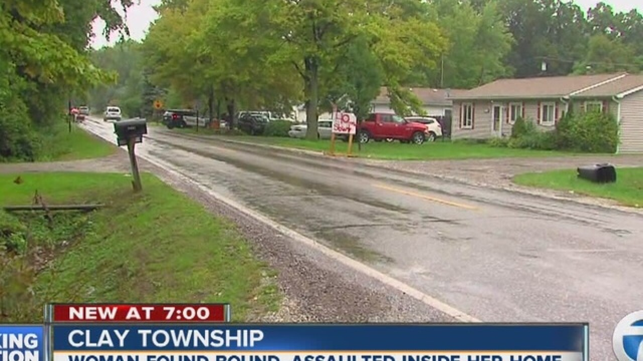 Woman found tied up inside home in Clay Township