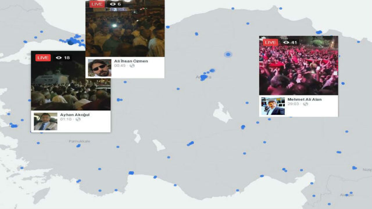 Facebook Live Map shows chaos across Turkey