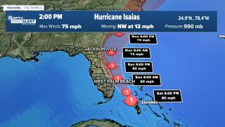 Isaias now expected to intensify into a Category 2 Hurricane