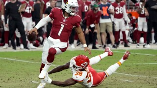 Kyler Murray has established that he's got the arm to be one of the NFL's elite quarterbacks. AP photo.