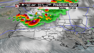 Scattered storms likely Sunday morning