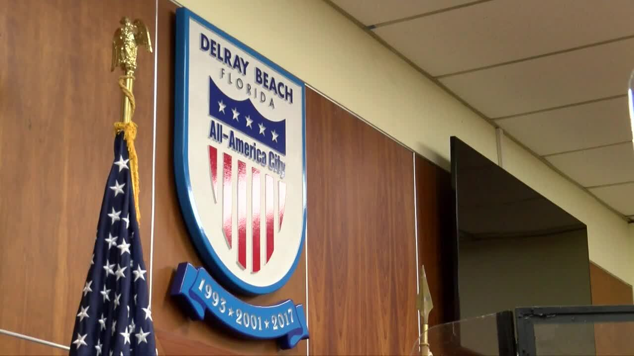 Delray Beach sign in city commission chambers