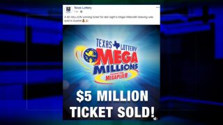 $5M winning lottery ticket sold in Austin