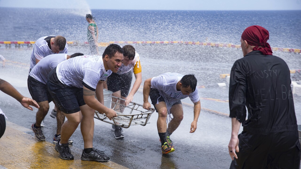 """USS Wasp Sailors honor longtime maritime tradition of """"crossing the line"""" as they cross theequator"""