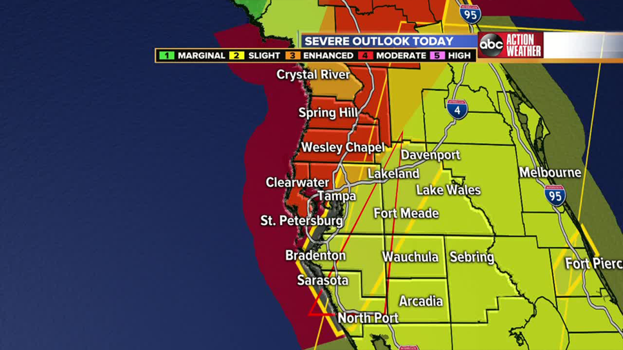 Heavy rain, high winds prompt watches and warnings throughout Tampa