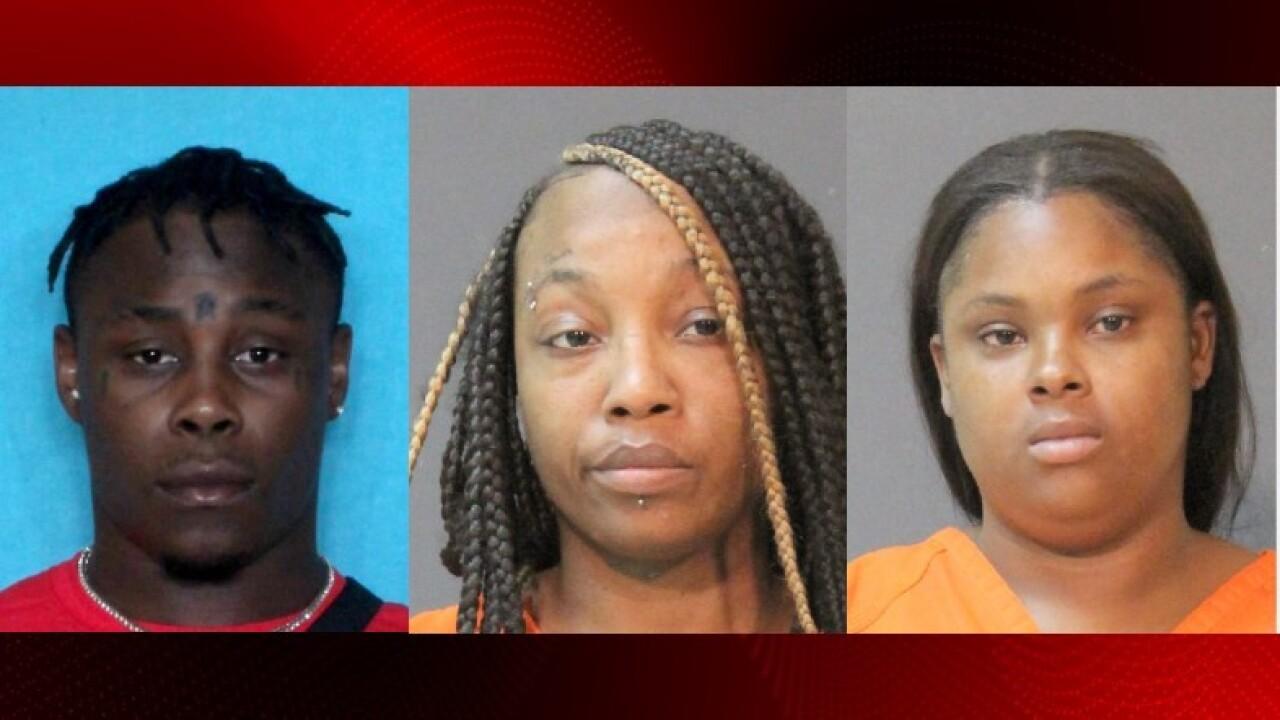 Brandon Jerome Jefferson, Akeala Ellis, Odessa Chavis. Courtesy Lake Charles Police Department