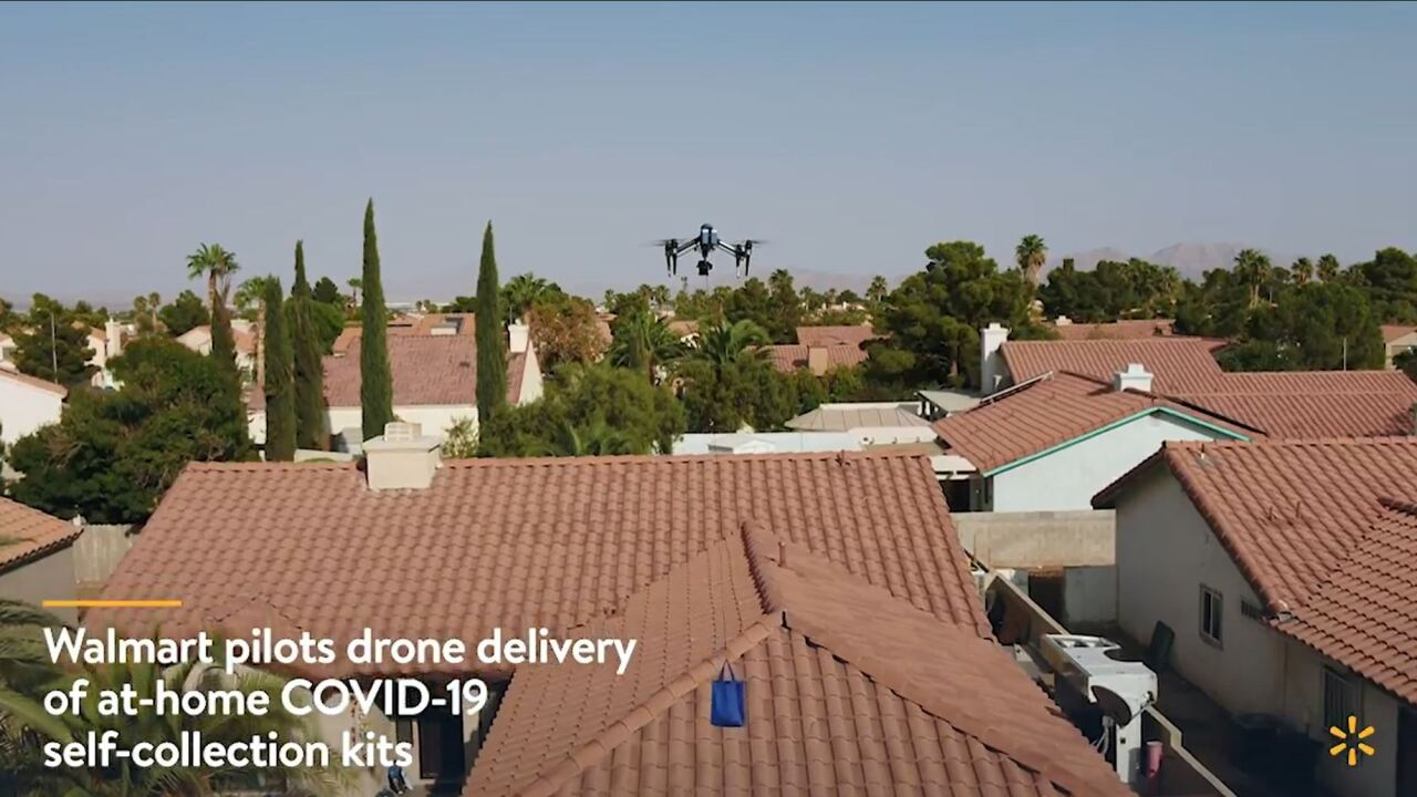 These are screen shots from video provided by Walmart showing drones to delivery COVID-19 test kits in North Las Vegas
