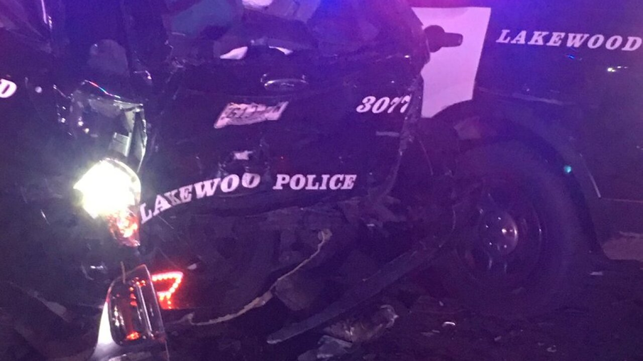 Lakewood Police car hit