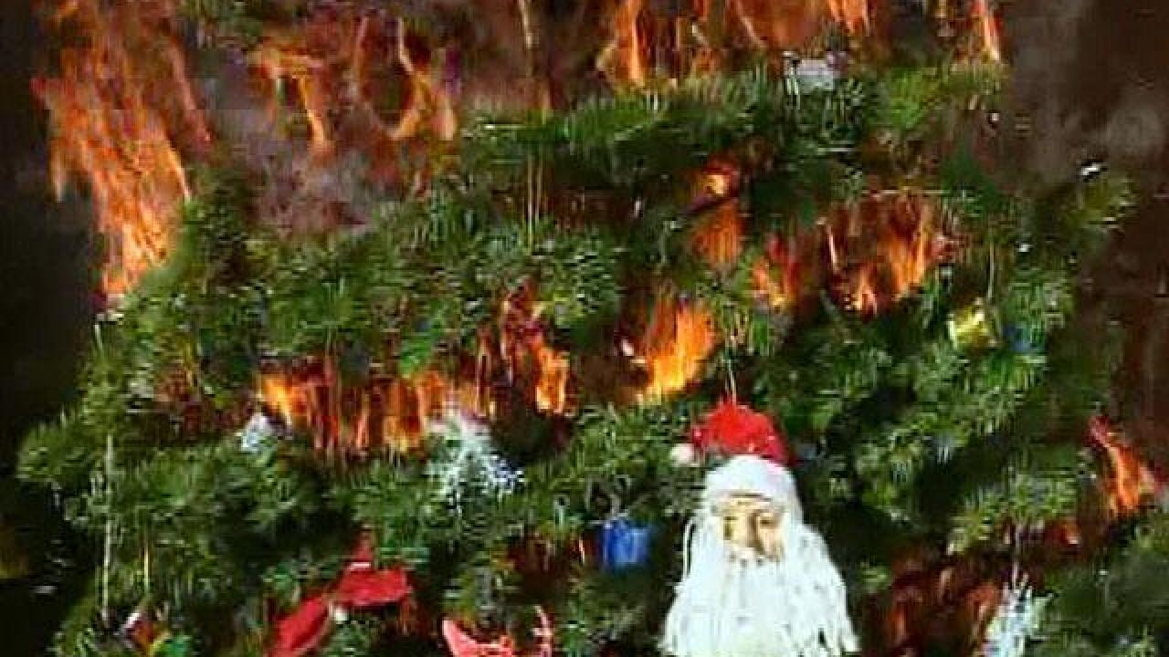 Christmas Tree On Fire.Tips On Preventing Christmas Tree Fires This Holiday Season