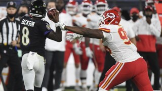 Chiefs Ravens Football Chris Jones Lamar Jackson