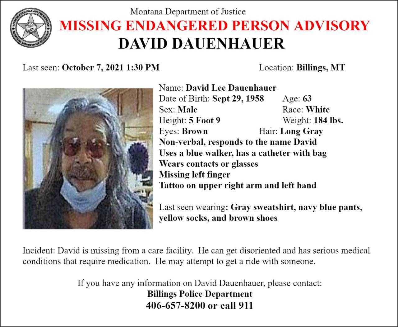 Missing-Endangered Person Advisory for David Lee Dauenhauer of Billings