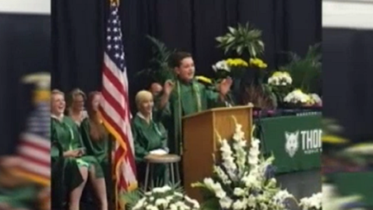 WATCH: Eighth grade student impersonates politicians in graduation speech
