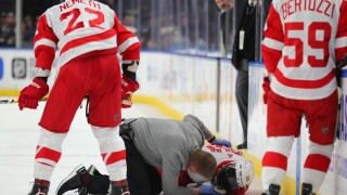 Red Wings Perlini's nose cut after stuck by Sabres skate