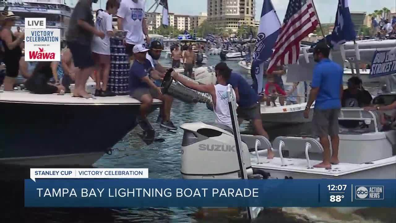 Scenes from the Tampa Bay Lightning boat parade