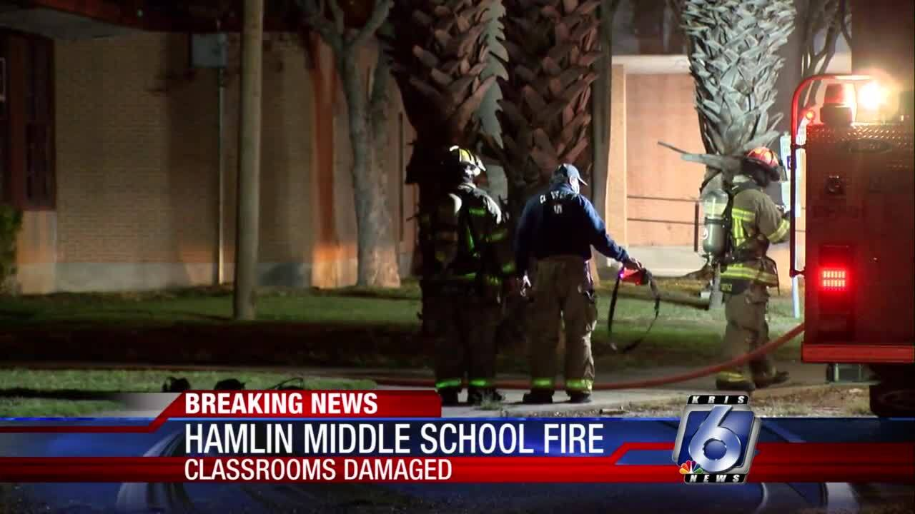 Fire at Hamlin Middle School this morning
