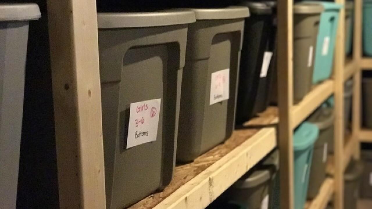 Plastic packing bins in a closet