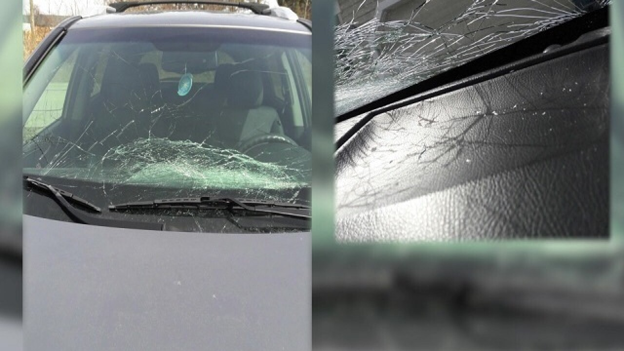 Man arrested for throwing a 2 x 4 at car on I-69