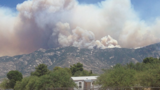 Bighorn Fire as seen from Catalina on June 17, 2020.