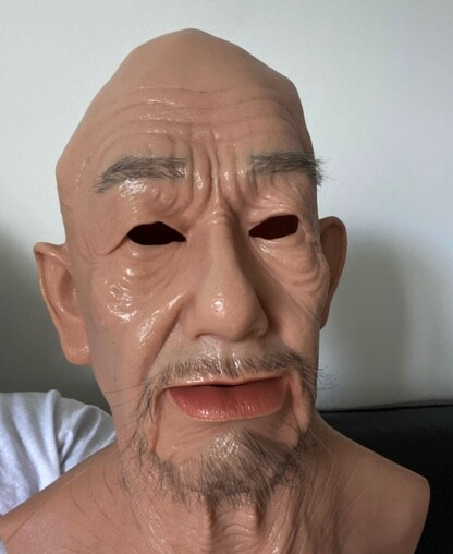 ID.me provided this photo of a face mask used by a fraudster attempting to outsmart facial i.d. verification.