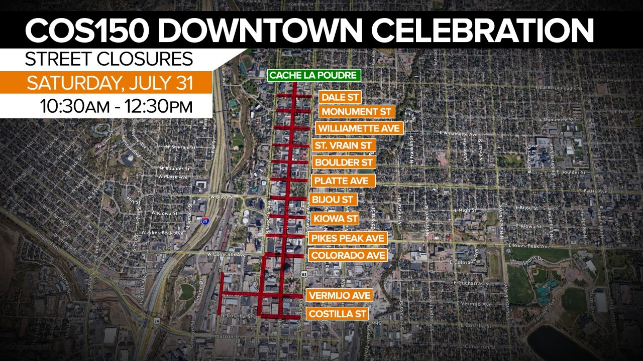 Street closures for COS150 Downtown Celebration during the parade