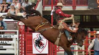 Brody Cress owns Wednesday saddle bronc at Frontier Days