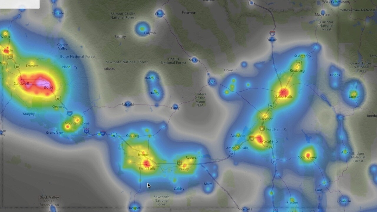 Light pollution in southern Idaho