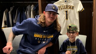 Oconto Falls boy throws first pitch at Brewers Spring Training